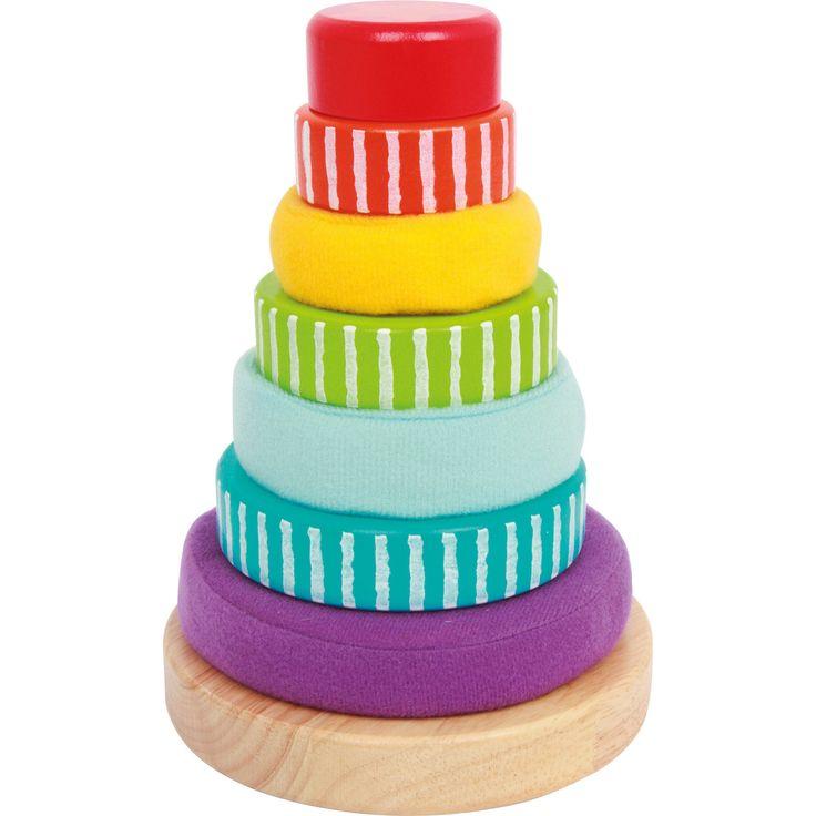 """Degetele micuților vor afla mai multe despre posibilitatile de combinare a coloratelor inele și stimulare a abilităților motorii cu ajutorul jocului educativ """"Piramida Inelelor Colorate"""". 3 inele colorate pictate din lemn, o cheie de bază și 3 inele din țesătură moale pot fi puse pe tija de bază din lemn de fag. Micuții vor îndrăgi rapid piramida inelelor! #montessori #kidstoys #jucariidinlemn #jucariionline#jucariieducative #babypyramid"""