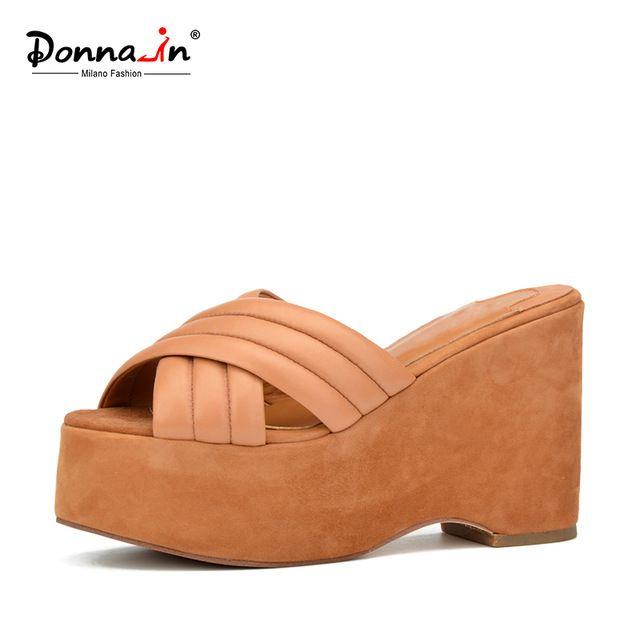 Донна в 2017 летний новый неподдельной кожи женская обувь платформа толстая высокий каблук моды kid замши сандалии