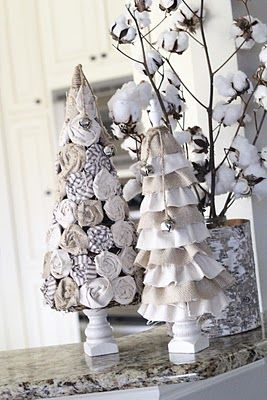 Christmas crafts- I like the shabby chic roses on the tree, would look sweet with bejeweled fabric yoyos and fabric roses too... all in white!