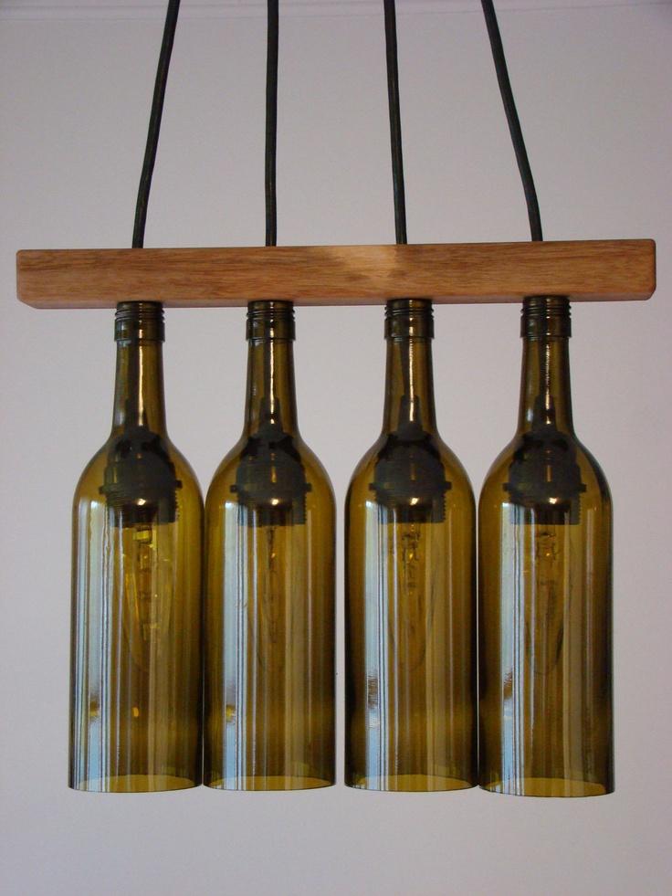 Walnut seperator wine bottle chandelier product design diy pin - Wine bottles chandelier ...