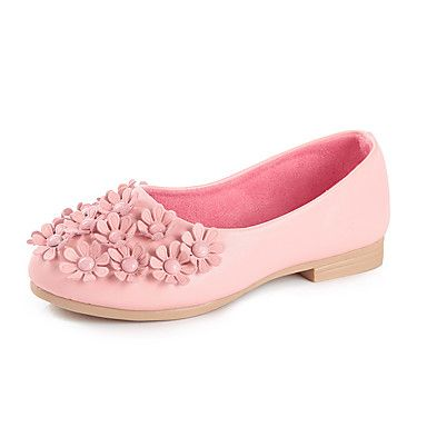 Girls' Flats Light Up Shoes Spring Fall PU Casual Flower Flat Heel White Black Red Blushing Pink Flat
