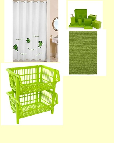 simple frog bathroom.  with small mural?