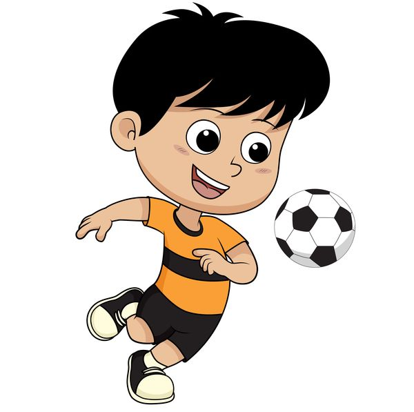 Cartoon Kid With Soccer Vectors 02 In 2020 Cartoon Kids Soccer Drawing Soccer Kids Playing