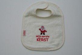 Slabber met tekst: mijn eerste Kerst! Verkrijgbaar bij www.babbelijntje.nl