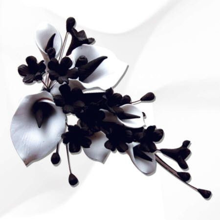 White & Black Calla Lily Spray - Small