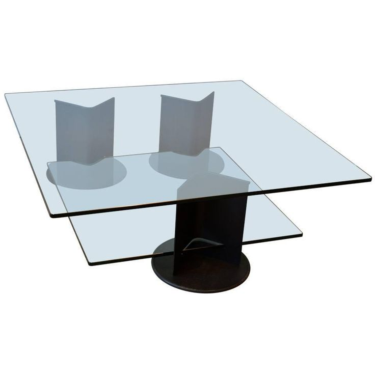 Luci Caltha Two Tiered Square Glass Coffee Table By Gianfranco Frattini Italy