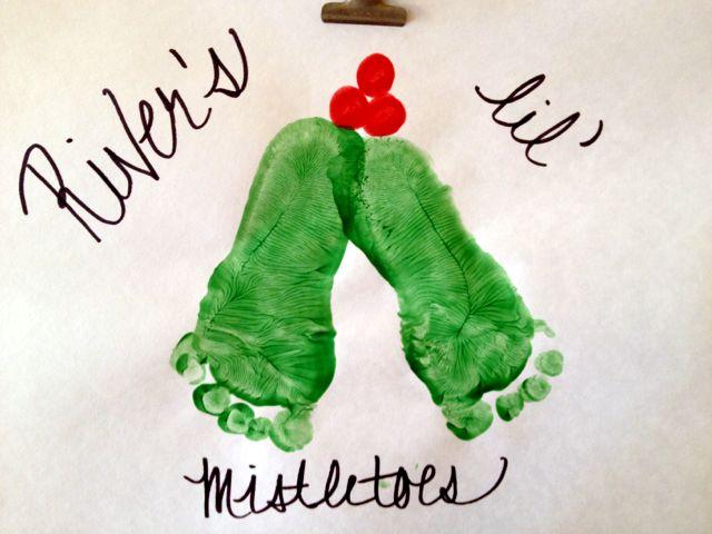 Footprints in the Christmas spirit made by River, 1 year old • Art My Kid Made #kidart #footprints #holidays #mistletoe