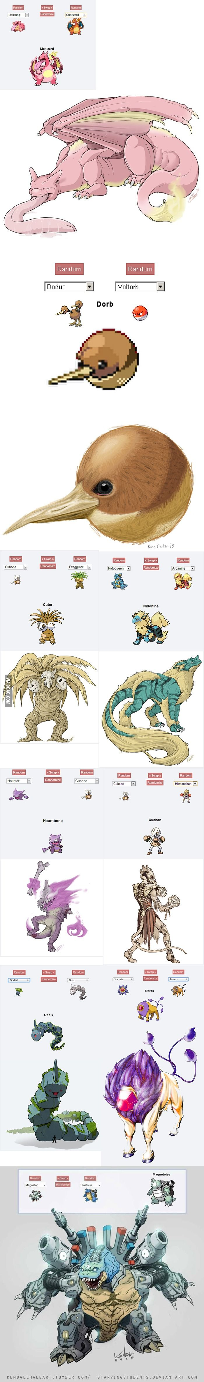 Pokemon Fusion Art - I love the Nidonine. This is frighteningly awesome!