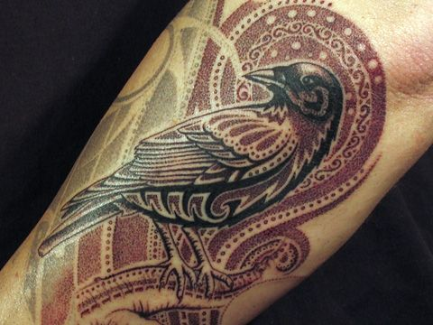 stylized crow: Tattoo Ideas, Birds Tattoo, Color, The Ravens, Tattoo Artists, Ravens Tattoo, Tattoo Patterns, Crows Tattoo, Red Black