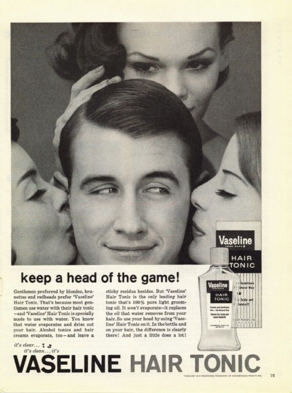 1961 VASELINE Hair Tonic ad ~ Keep a Head of The Game ...