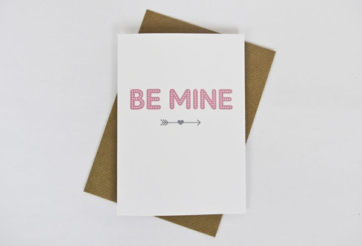 Image of 'Be mine' Valentine's card in pink