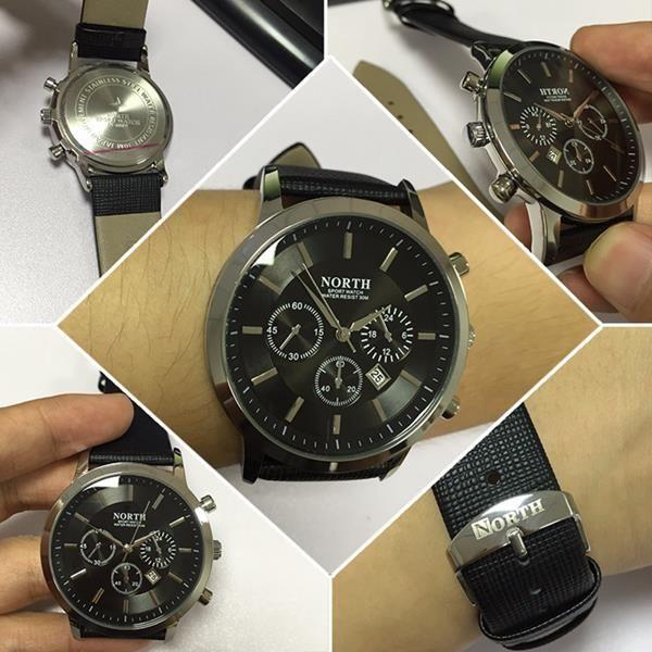 NORTH 6009 Fashion Men Quartz Watch Casual Decorative Little Dails Leather Strap Wristwatch