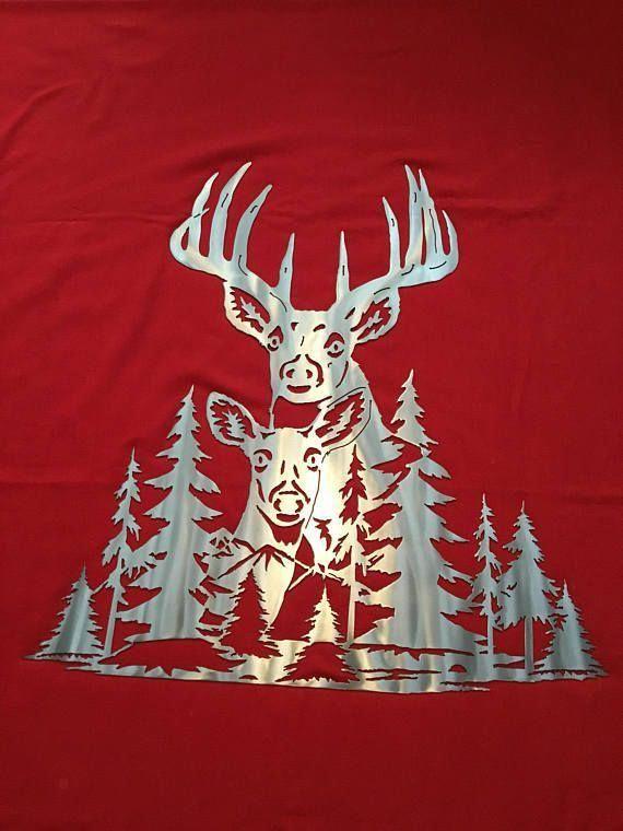 Large Whitetail Deer Buck Doe Scene Metal Wall Decor Etsy In 2020 Metal Tree Wall Art Tree Wall Art Diy Metal Tree