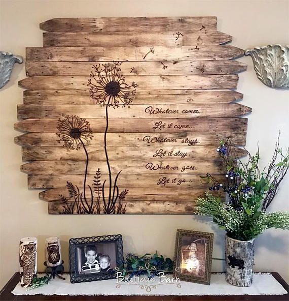 Löwenzahn Wandkunst große quadratische Blume Holz Bild rustikal zurückgeforde…