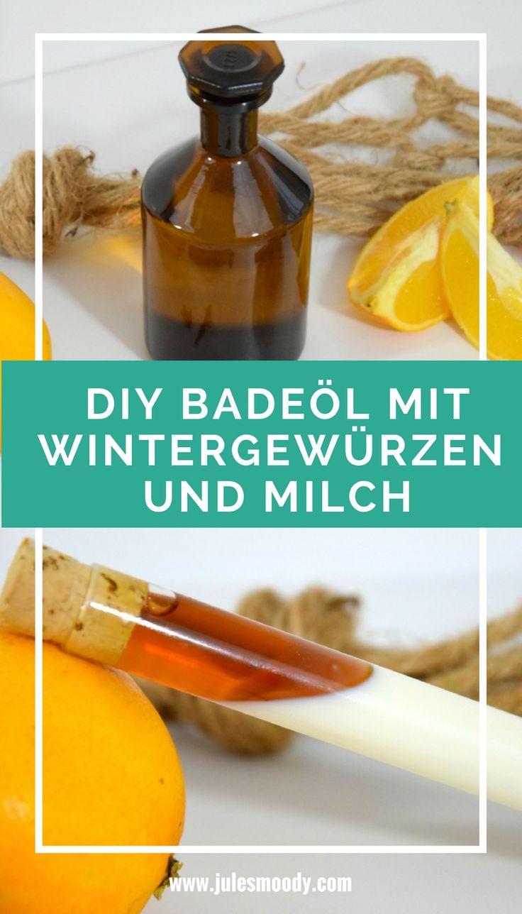 Ein wunderbares Badeöl zum selbst Verwöhnen oder als Geschenk! Schnell und einfach gemacht! #diy #geschenk #badeöl #naturkosmetik #grünekosmetik #weihnachten