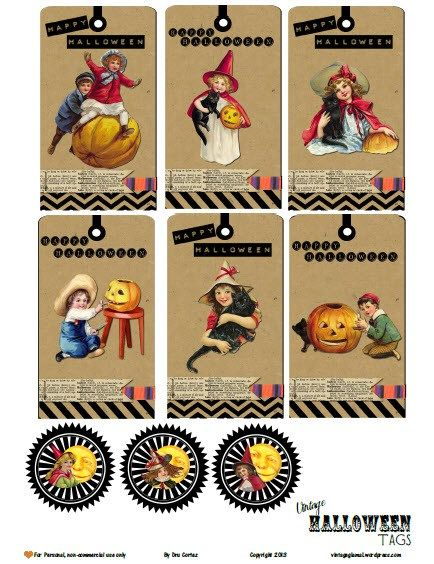 free printable download vintage halloween tags - Article About Halloween