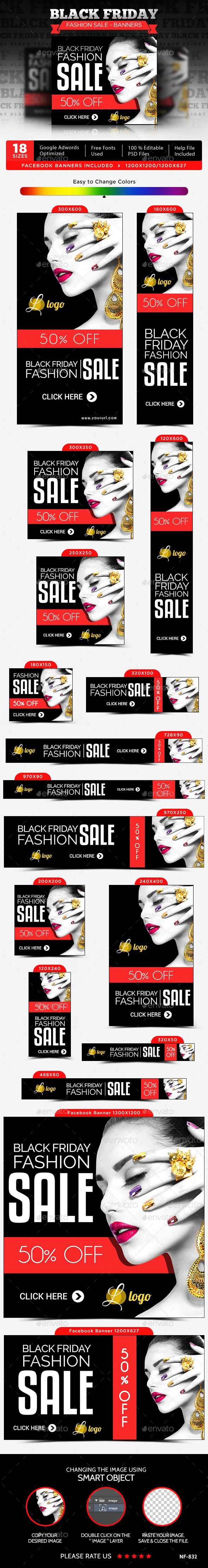Black Friday Fashion Sale Web Banners Template PSD #design #ads Download: http://graphicriver.net/item/black-friday-fashion-sale-banners/13737641?ref=ksioks