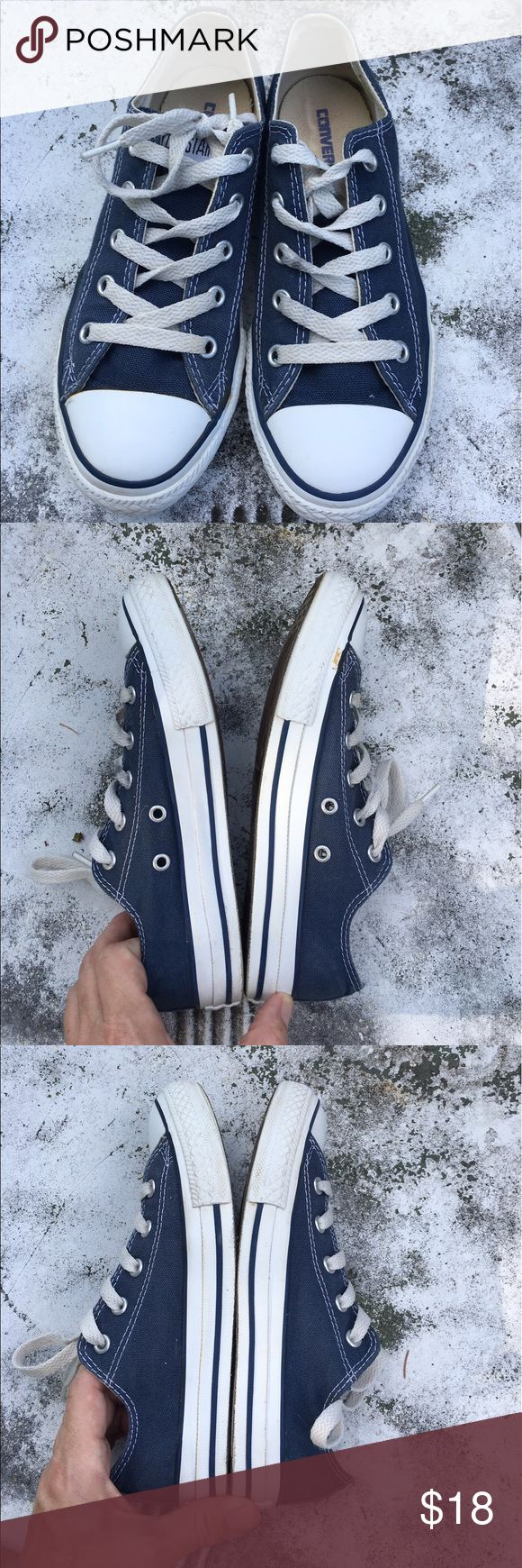 Navy Converse Navy Converse💙Great Shape, only worn a handful of times💙size 2 Youth💙                               🚭Smoke Free Home Converse Shoes Sneakers