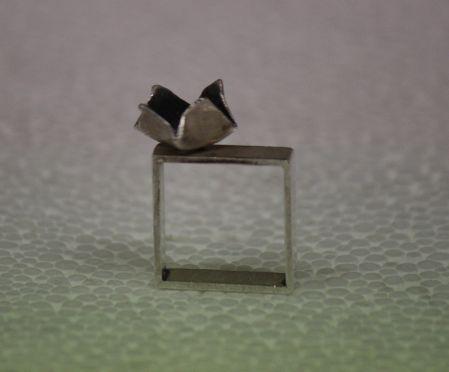 gümüş kare yüzük , gümüş oksit çiçekli - silver ring