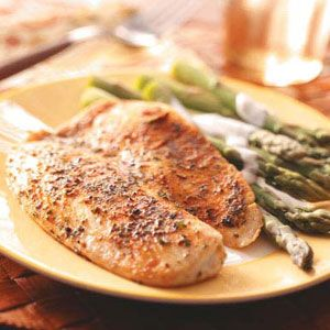 Seasoned Tilapia Fillets Recipe  Very simple and quick.  I expect it would be fine without the butter.  I cut back and never noticed the difference.