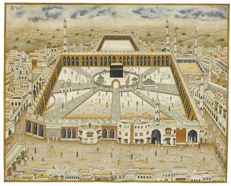 A large view of Mecca, India, 19th century gouache on paper, ruled in gold and black, with a narrow blue-grey border 49.5 by 60cm
