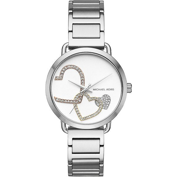 Michael Kors Portia Watch - Silver - Women's Watches ($225) ❤ liked on Polyvore featuring jewelry, watches, metalic, silver jewellery, water resistant watches, silver wrist watch, michael kors watches and silver watches