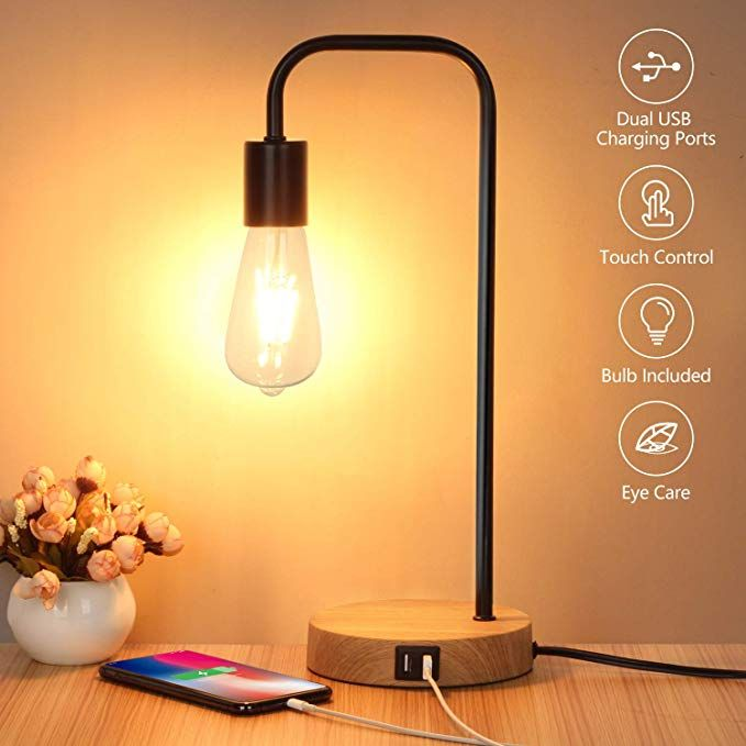 Touch Control Table Lamp Usb Desk Lamp 3 Way Dimmable Modern Nightstand Lamp With Two Usb Charging Ports For Bedr In 2020 Nightstand Lamp Touch Table Lamps Desk Lamp