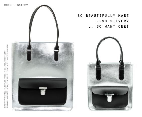 www.frombritainwithlove.com Brix and Bailey Silver Leather Tote Bags  www.brixbailey.com