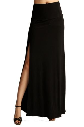 Black High Waisted Maxi Skirt with Slit