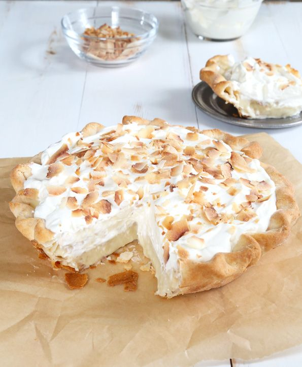 Get this tested, easy-to-follow recipe for gluten free coconut cream pie—a single-crust gluten free pie filled with coconut cream and whipped cream!