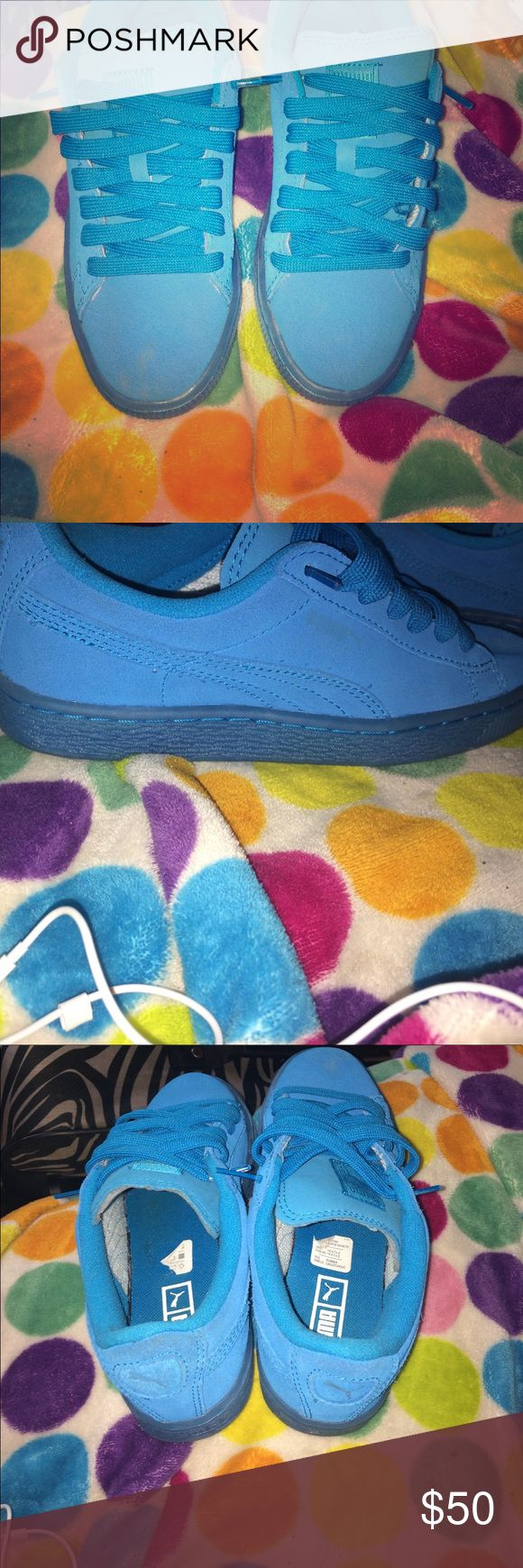 Light blue pumas suede sneakers Never worn brand new fresh out the box Puma Shoes Sneakers