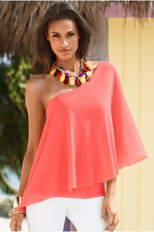 Coral one shoulder top, white skinnies and statement necklace