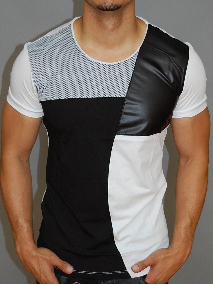 Y&R Men Mesh Faux Leather Shirt - White