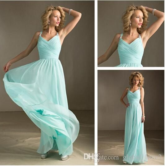 Mint Green Bridesmaid Dresses Long Floor For Cheap Spaghetti Party Gown Chiffon Prom Party Gowns Under 100 Plus Size Wedding Party Dresses Long Gowns Maid Of Honor Dresses From Global_love, $62.83| Dhgate.Com