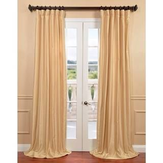 Exclusive Fabrics Parchment Yarn Dyed Faux Dupioni Silk Curtain Panel