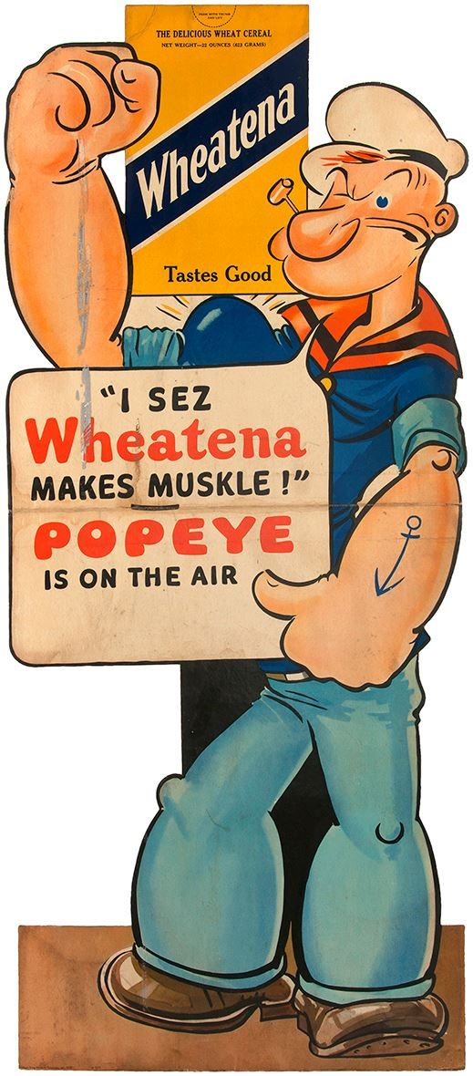 """Muskle"" - Vintage Wheatena / Popeye illustrated advertisement"