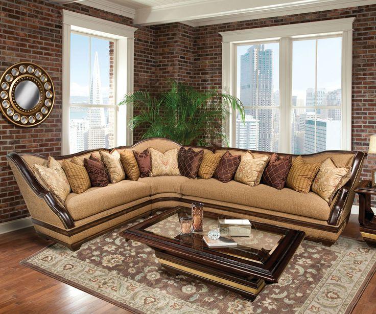 benetti's italia beladonna wood trim sectional sofa set