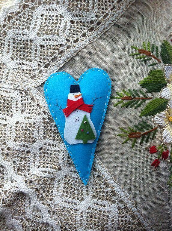 Купить Снежное сердце - фетр, елочные украшения, новогодний сувенир, новый год 2014, новогодний декор