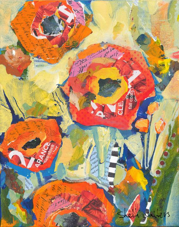 Orange Poppies No3  8x10 original mixed media painting on gallery wrapped canvas    I love poppies but they would rather wither and die than grow