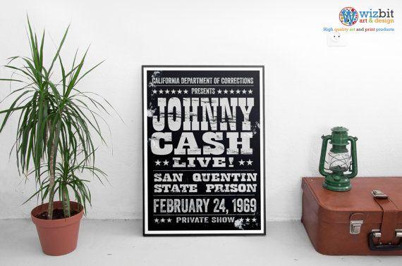Affiche de concert Johnny Cash anglo-saxon  Prison par WizBitArt