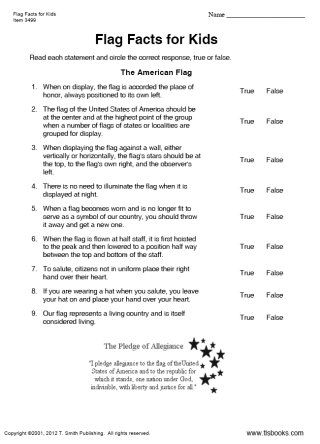 Snapshot image of Flag Facts for Kids True or False Worksheet