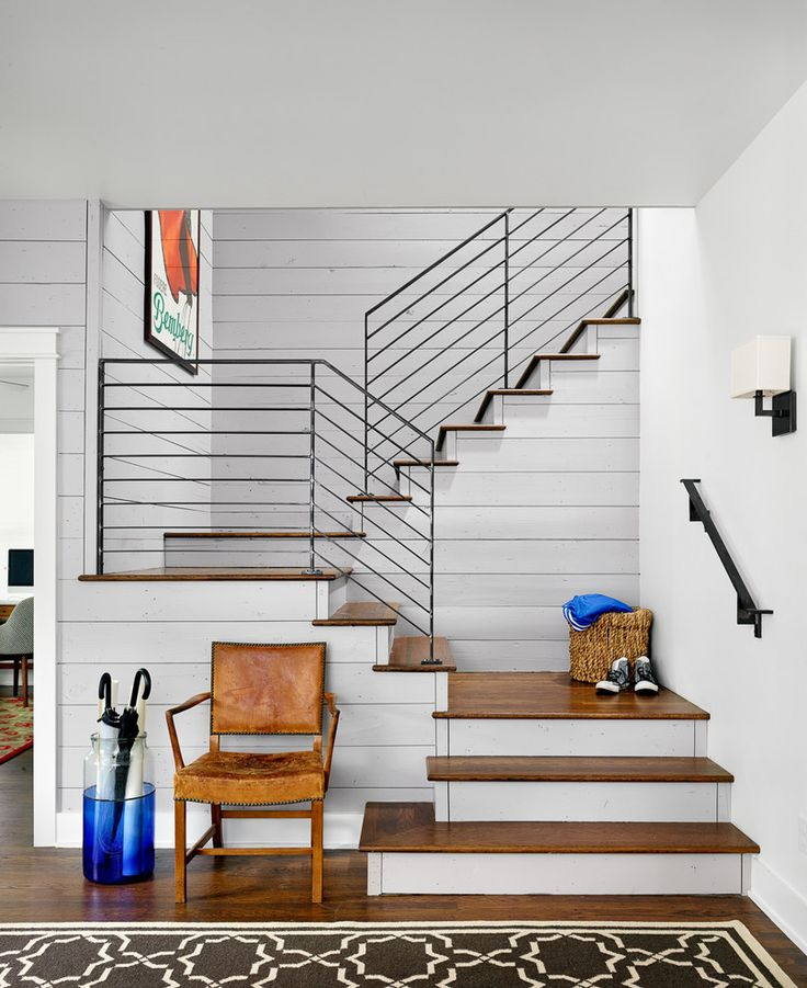 metal stair railings staircase in Staircase Farmhouse with metal railing black railing