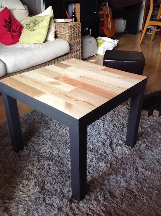 Relooking table basse ikea lack avec palettes relooking for Meuble d appoint ikea
