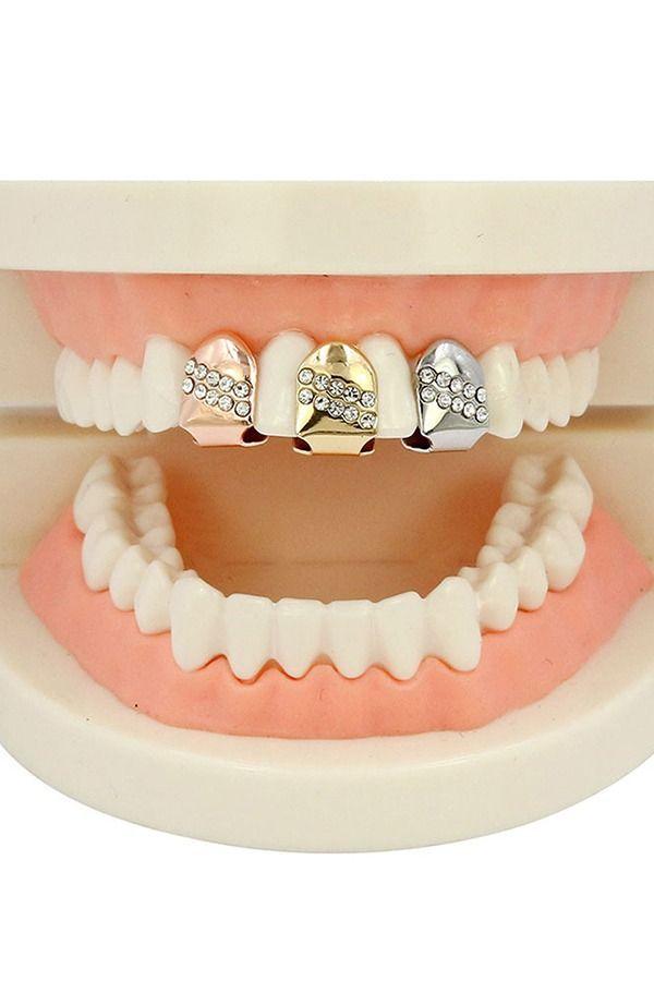 18k Gold Braces Punk Hip Hop Single Diamond Teeth Grillz Dental
