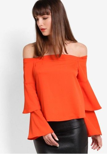 Orange Double Sleeve Bardot Top from Miss Selfridge in orange_1