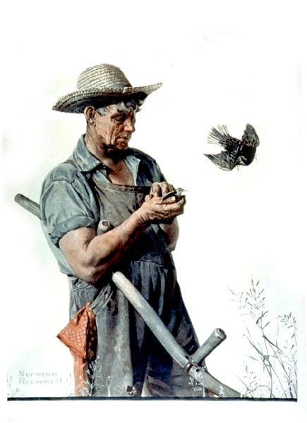 "Norman Rockwell ""Farmer and Bird"" (1923)"