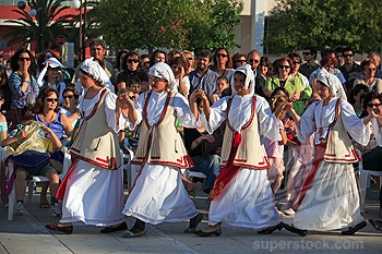 Cephallonia, Argostoli Platia Vallianou Schoolchildren Performing Traditional Greek Dance In The Main Square