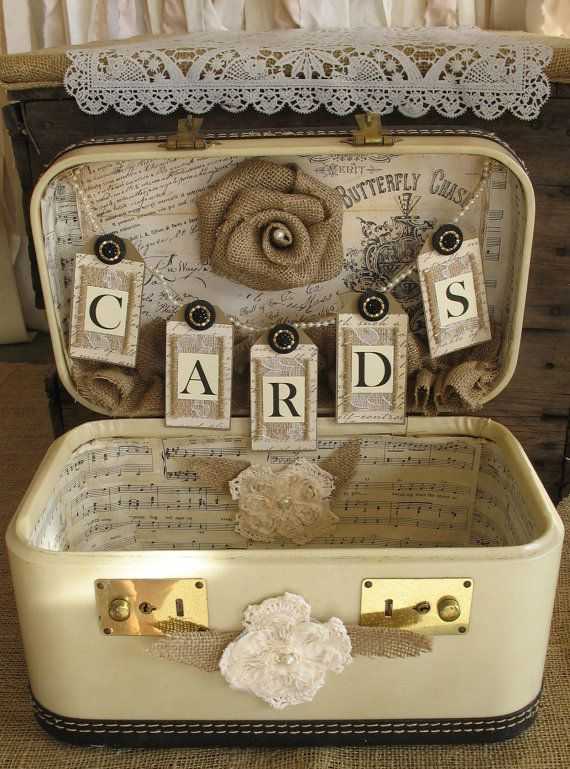 Vintage Suitcase Wedding Card Holder Shabby Chic Wedding Rustic Country Wedding creme