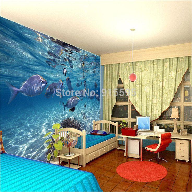 Wallpaper 3D Underwater World Of Marine Fish Living Room TV Background Mural Unbranded
