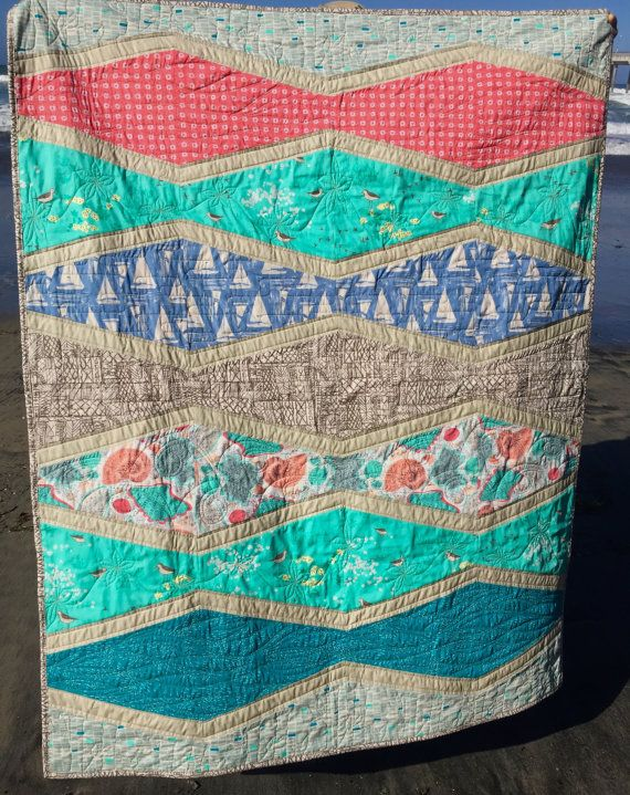 """Beachcomber Quilt Top, Binding and Pattern  - Quilt Kit for Quilt approx. 58"""" x 46"""""""